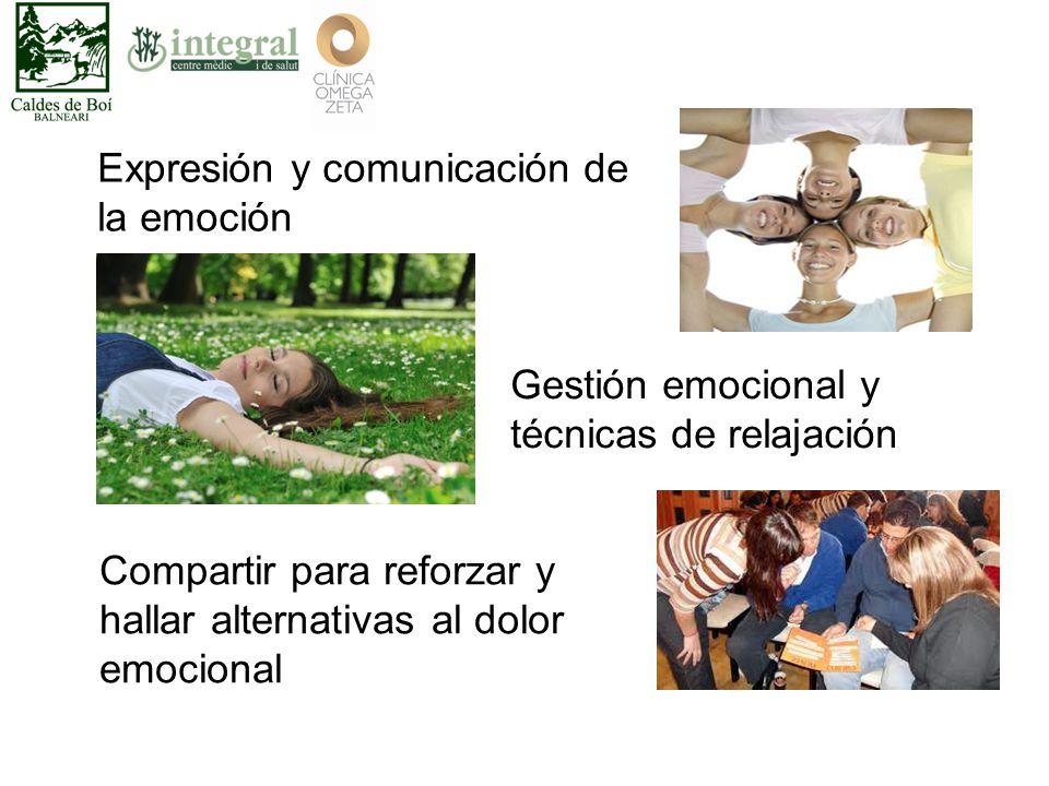 Gestión emocional y técnicas de relajación Expresión y comunicación de la emoción Compartir para reforzar y hallar alternativas al dolor emocional