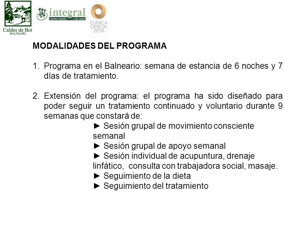 MODALIDADES DEL PROGRAMA 1.Programa en el Balneario: semana de estancia de 6 noches y 7 días de tratamiento.