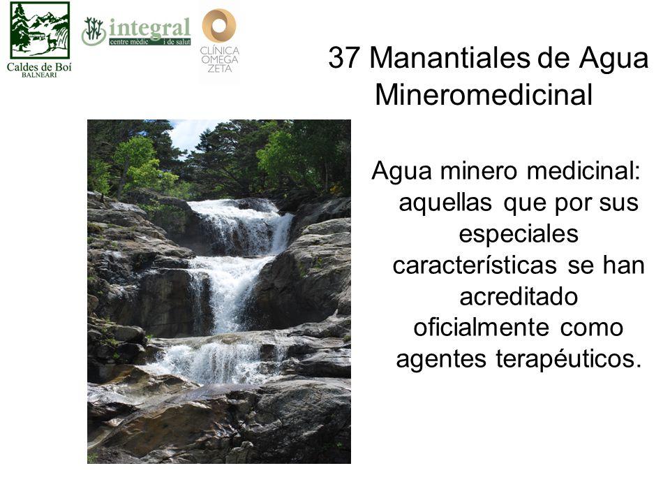 37 Manantiales de Agua Mineromedicinal Agua minero medicinal: aquellas que por sus especiales características se han acreditado oficialmente como agentes terapéuticos.