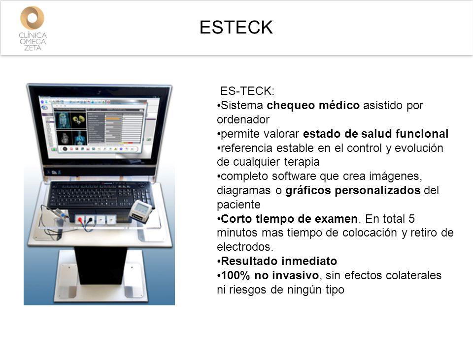 ESTECK ES-TECK: Sistema chequeo médico asistido por ordenador permite valorar estado de salud funcional referencia estable en el control y evolución de cualquier terapia completo software que crea imágenes, diagramas o gráficos personalizados del paciente Corto tiempo de examen.