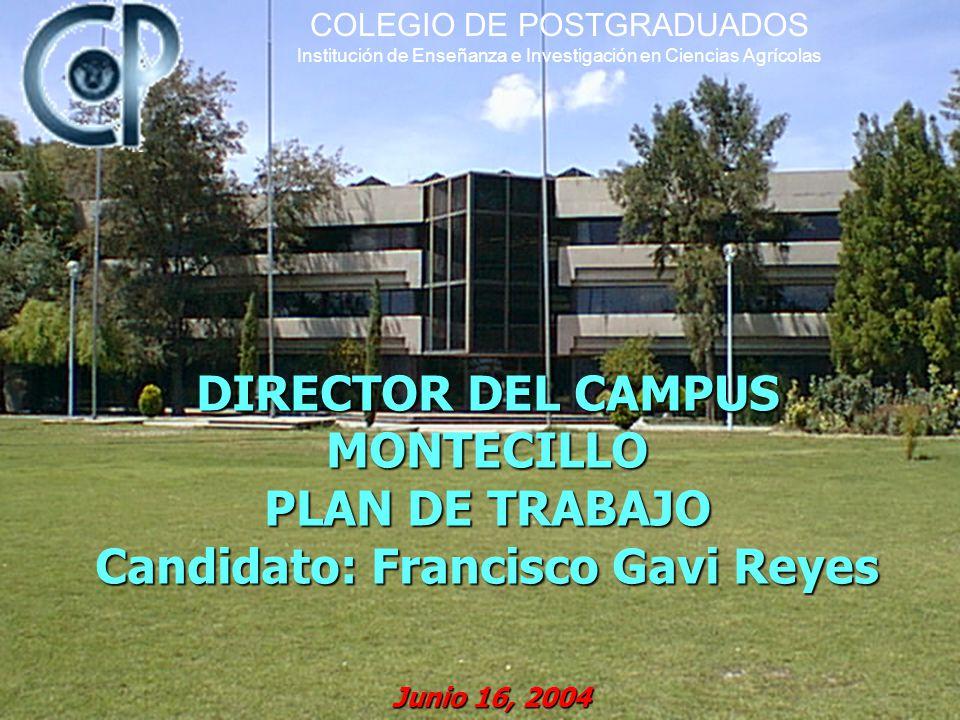 DIRECTOR DEL CAMPUS MONTECILLO PLAN DE TRABAJO Candidato: Francisco Gavi Reyes Junio 16, 2004 COLEGIO DE POSTGRADUADOS Institución de Enseñanza e Investigación en Ciencias Agrícolas