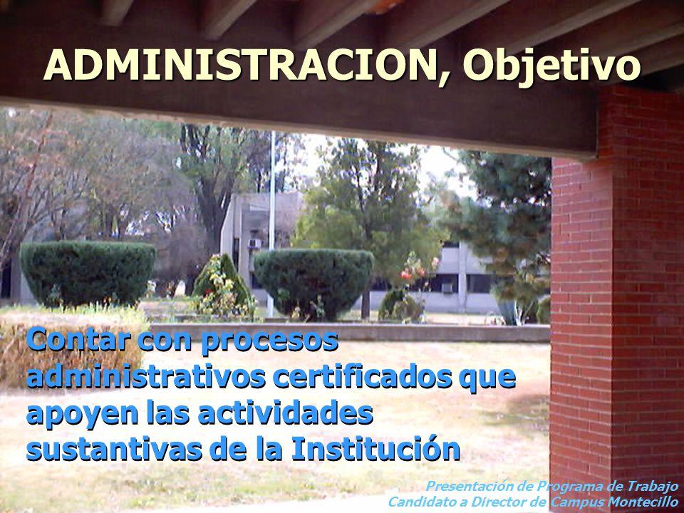 ADMINISTRACION, Objetivo Contar con procesos administrativos certificados que apoyen las actividades sustantivas de la Institución Presentación de Programa de Trabajo Candidato a Director de Campus Montecillo