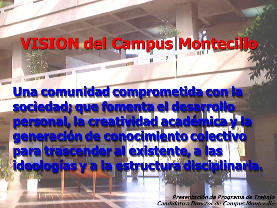 VISION del Campus Montecillo Una comunidad comprometida con la sociedad; que fomenta el desarrollo personal, la creatividad académica y la generación de conocimiento colectivo para trascender al existente, a las ideologías y a la estructura disciplinaria.