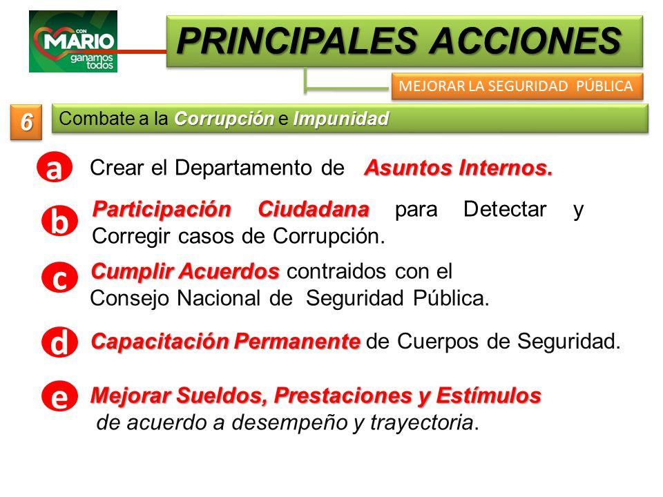 PRINCIPALES ACCIONES MEJORAR LA SEGURIDAD PÚBLICA Asuntos Internos.
