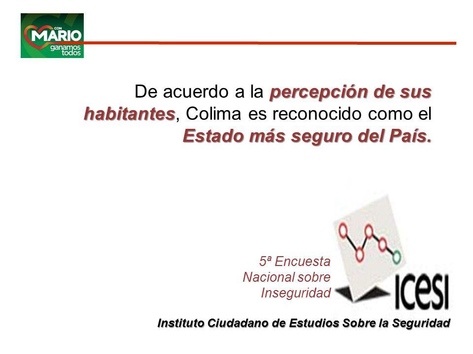 5ª Encuesta Nacional sobre Inseguridad percepción de sus habitantes Estado más seguro del País.
