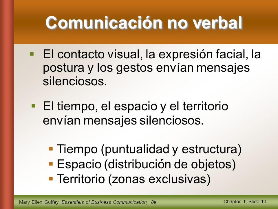 Mary Ellen Guffey, Essentials of Business Communication, 8e Chapter 1, Slide 10 Comunicación no verbal  El contacto visual, la expresión facial, la postura y los gestos envían mensajes silenciosos.