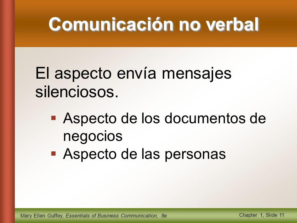 Mary Ellen Guffey, Essentials of Business Communication, 8e Chapter 1, Slide 11 El aspecto envía mensajes silenciosos.
