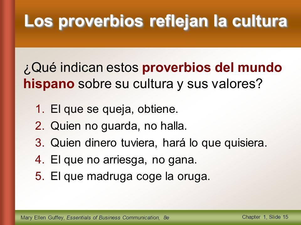 Mary Ellen Guffey, Essentials of Business Communication, 8e Chapter 1, Slide 15 Los proverbios reflejan la cultura 1.El que se queja, obtiene.