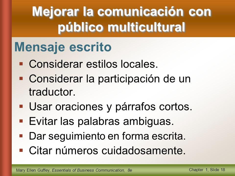 Mary Ellen Guffey, Essentials of Business Communication, 8e Chapter 1, Slide 18 Mejorar la comunicación con público multicultural Mensaje escrito  Considerar estilos locales.