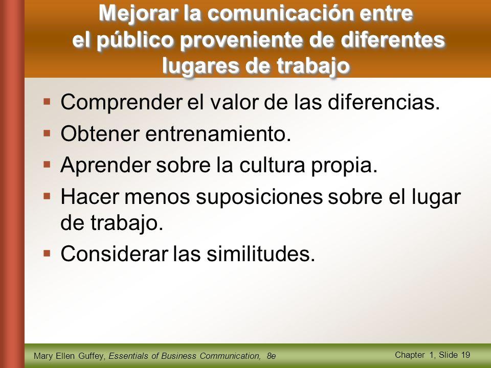 Mary Ellen Guffey, Essentials of Business Communication, 8e Chapter 1, Slide 19  Comprender el valor de las diferencias.