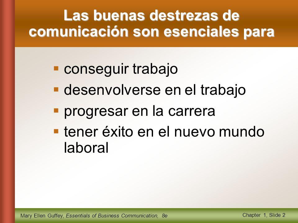 Mary Ellen Guffey, Essentials of Business Communication, 8e Chapter 1, Slide 2 Las buenas destrezas de comunicación son esenciales para  conseguir trabajo  desenvolverse en el trabajo  progresar en la carrera  tener éxito en el nuevo mundo laboral