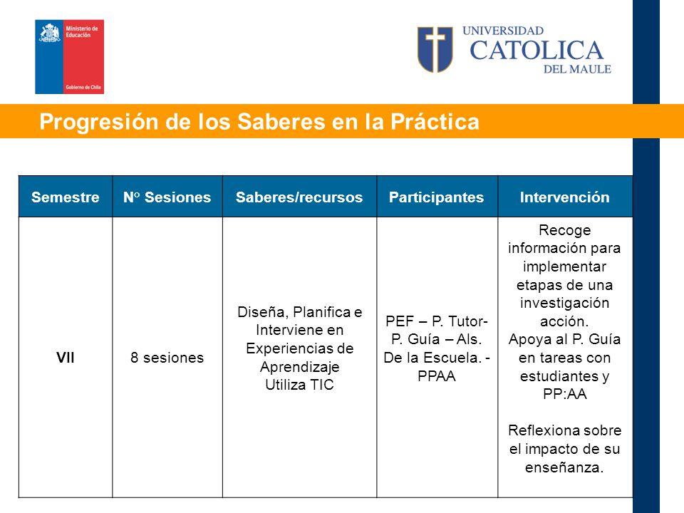 Progresión de los Saberes en la Práctica SemestreN° SesionesSaberes/recursosParticipantesIntervención VII8 sesiones Diseña, Planifica e Interviene en Experiencias de Aprendizaje Utiliza TIC PEF – P.