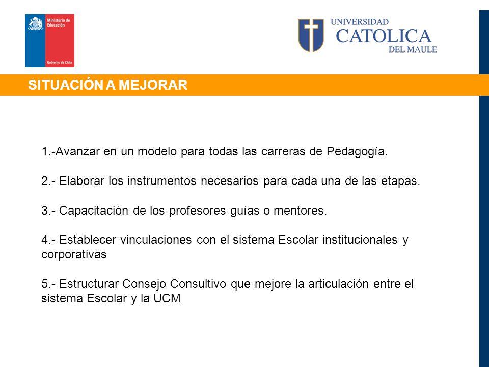 SITUACIÓN A MEJORAR 1.-Avanzar en un modelo para todas las carreras de Pedagogía.