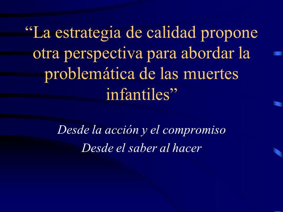 La estrategia de calidad propone otra perspectiva para abordar la problemática de las muertes infantiles Desde la acción y el compromiso Desde el saber al hacer