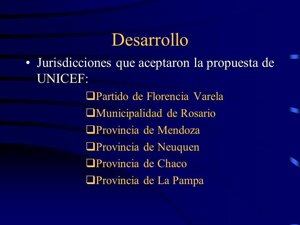 Desarrollo Jurisdicciones que aceptaron la propuesta de UNICEF:Jurisdicciones que aceptaron la propuesta de UNICEF:  Partido de Florencia Varela  Municipalidad de Rosario  Provincia de Mendoza  Provincia de Neuquen  Provincia de Chaco  Provincia de La Pampa