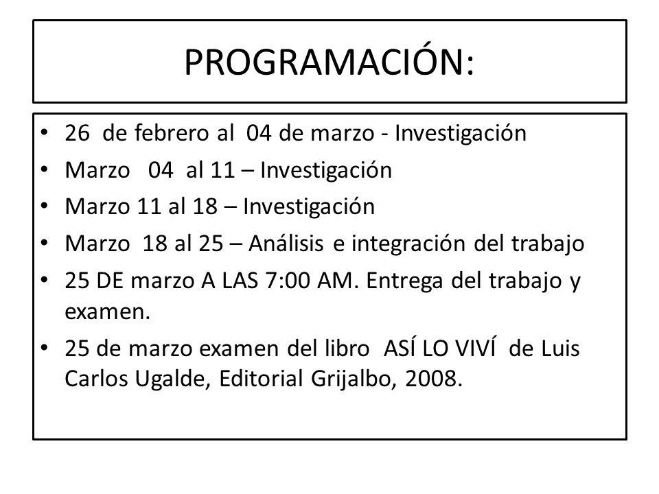 PROGRAMACIÓN: 26 de febrero al 04 de marzo - Investigación Marzo 04 al 11 – Investigación Marzo 11 al 18 – Investigación Marzo 18 al 25 – Análisis e integración del trabajo 25 DE marzo A LAS 7:00 AM.