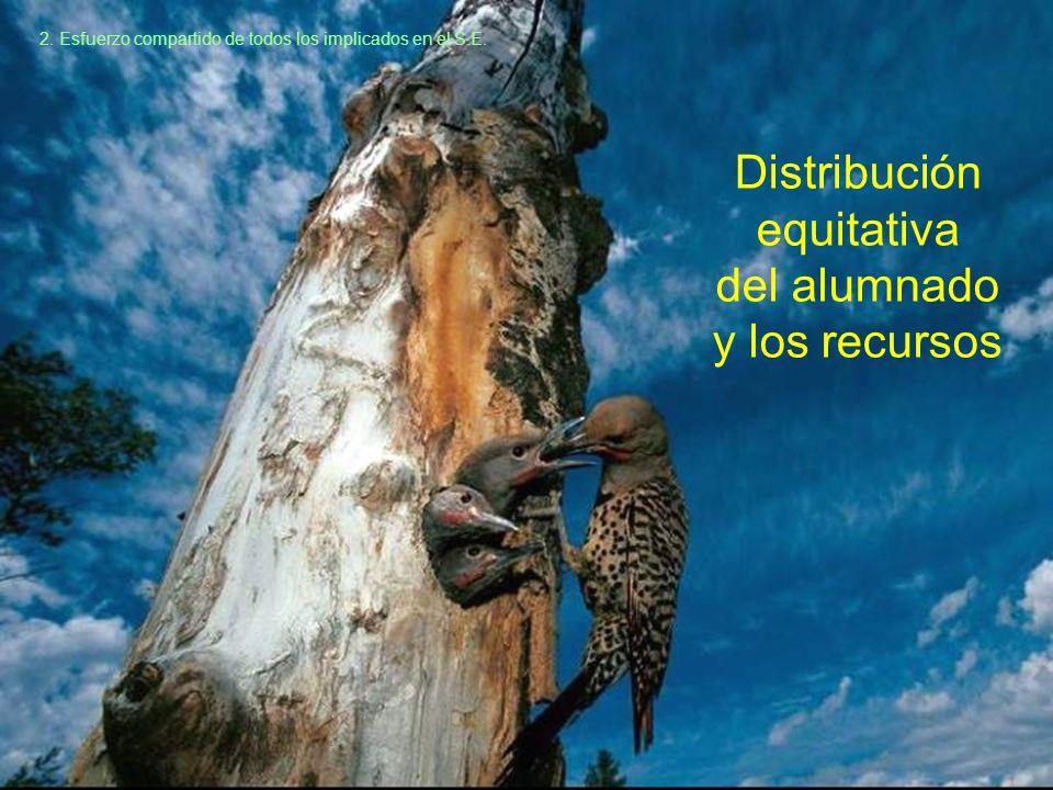 Distribución equitativa del alumnado y los recursos 2.