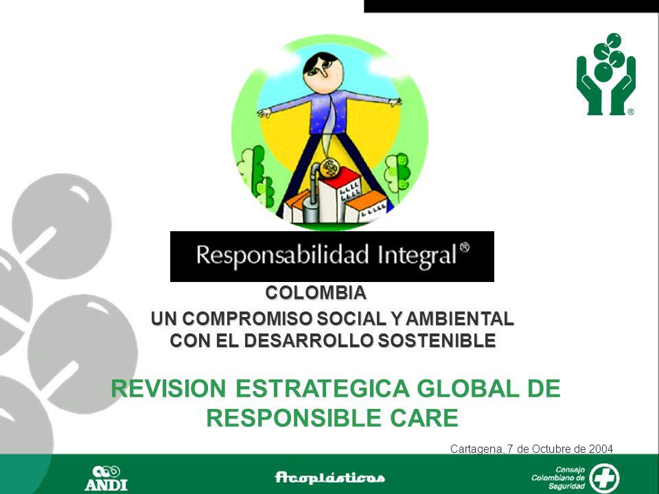 COLOMBIA UN COMPROMISO SOCIAL Y AMBIENTAL CON EL DESARROLLO SOSTENIBLE REVISION ESTRATEGICA GLOBAL DE RESPONSIBLE CARE Cartagena, 7 de Octubre de 2004