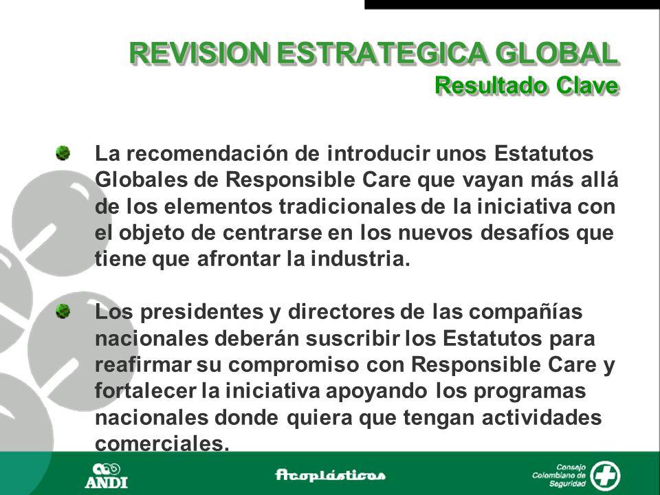 REVISION ESTRATEGICA GLOBAL Resultado Clave REVISION ESTRATEGICA GLOBAL Resultado Clave La recomendación de introducir unos Estatutos Globales de Responsible Care que vayan más allá de los elementos tradicionales de la iniciativa con el objeto de centrarse en los nuevos desafíos que tiene que afrontar la industria.