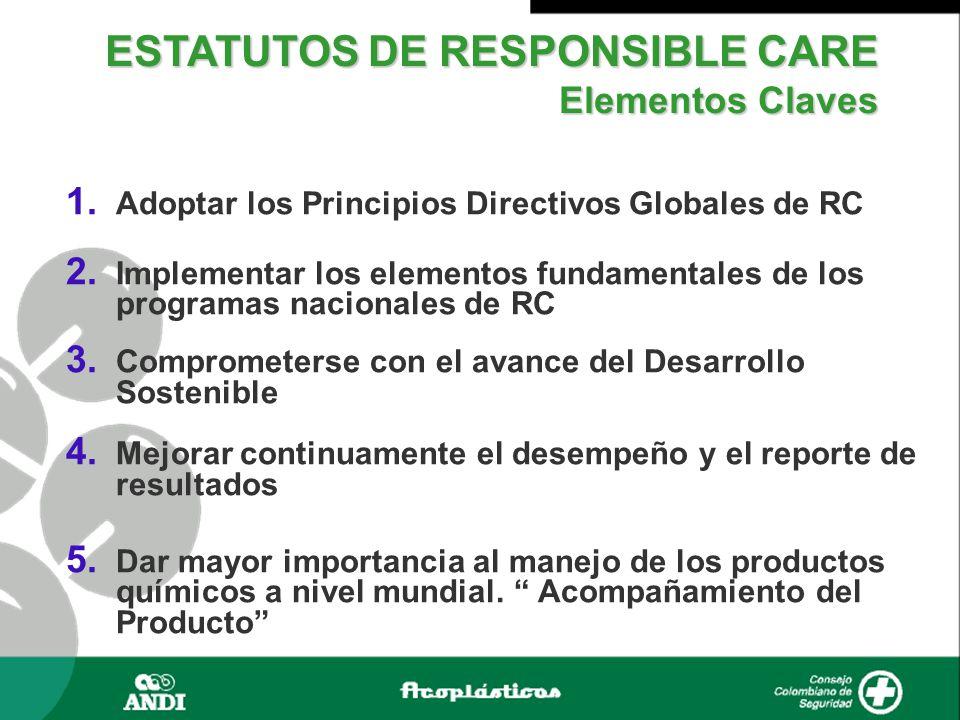  Adoptar los Principios Directivos Globales de RC  Implementar los elementos fundamentales de los programas nacionales de RC  Comprometerse con el avance del Desarrollo Sostenible  Mejorar continuamente el desempeño y el reporte de resultados  Dar mayor importancia al manejo de los productos químicos a nivel mundial.