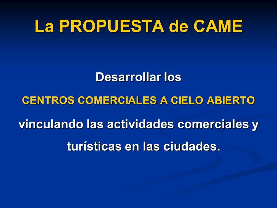 La PROPUESTA de CAME Desarrollar los CENTROS COMERCIALES A CIELO ABIERTO vinculando las actividades comerciales y turísticas en las ciudades.