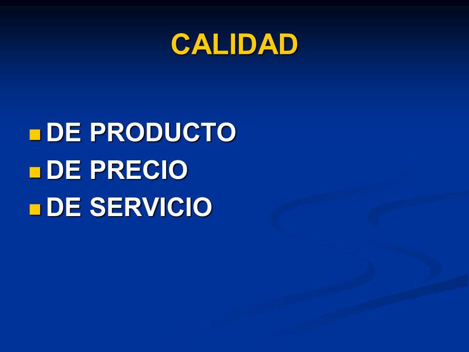 CALIDAD DE PRODUCTO DE PRODUCTO DE PRECIO DE PRECIO DE SERVICIO DE SERVICIO