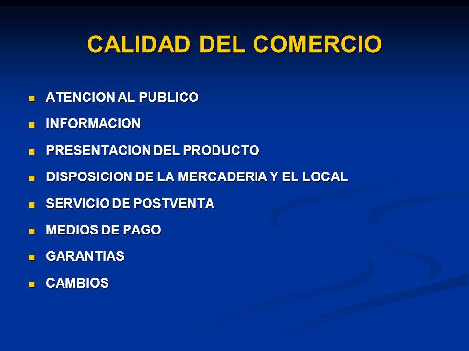 CALIDAD DEL COMERCIO ATENCION AL PUBLICO ATENCION AL PUBLICO INFORMACION INFORMACION PRESENTACION DEL PRODUCTO PRESENTACION DEL PRODUCTO DISPOSICION DE LA MERCADERIA Y EL LOCAL DISPOSICION DE LA MERCADERIA Y EL LOCAL SERVICIO DE POSTVENTA SERVICIO DE POSTVENTA MEDIOS DE PAGO MEDIOS DE PAGO GARANTIAS GARANTIAS CAMBIOS CAMBIOS