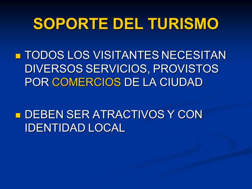 SOPORTE DEL TURISMO TODOS LOS VISITANTES NECESITAN DIVERSOS SERVICIOS, PROVISTOS POR COMERCIOS DE LA CIUDAD TODOS LOS VISITANTES NECESITAN DIVERSOS SERVICIOS, PROVISTOS POR COMERCIOS DE LA CIUDAD DEBEN SER ATRACTIVOS Y CON IDENTIDAD LOCAL DEBEN SER ATRACTIVOS Y CON IDENTIDAD LOCAL