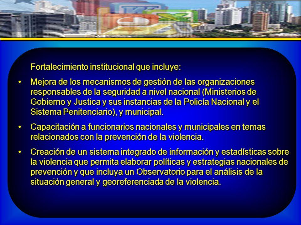 Fortalecimiento institucional que incluye: Mejora de los mecanismos de gestión de las organizaciones responsables de la seguridad a nivel nacional (Ministerios de Gobierno y Justica y sus instancias de la Policía Nacional y el Sistema Penitenciario), y municipal.