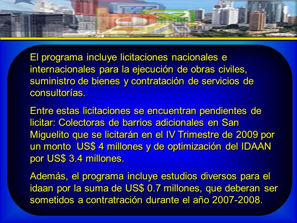El programa incluye licitaciones nacionales e internacionales para la ejecución de obras civiles, suministro de bienes y contratación de servicios de consultorías.