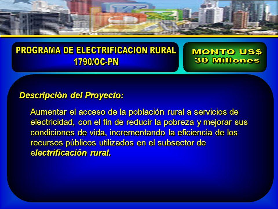 Descripción del Proyecto: Aumentar el acceso de la población rural a servicios de electricidad, con el fin de reducir la pobreza y mejorar sus condiciones de vida, incrementando la eficiencia de los recursos públicos utilizados en el subsector de electrificación rural.