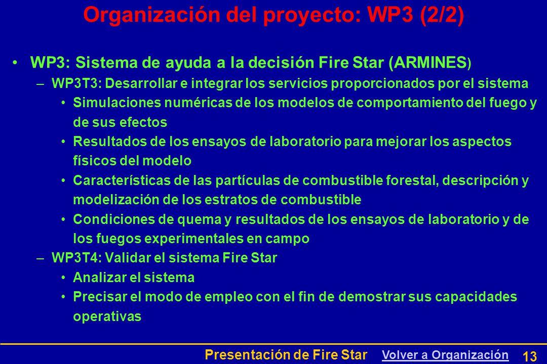Presentación de Fire Star 13 Organización del proyecto: WP3 (2/2) WP3: Sistema de ayuda a la decisión Fire Star (ARMINES ) –WP3T3: Desarrollar e integrar los servicios proporcionados por el sistema Simulaciones numéricas de los modelos de comportamiento del fuego y de sus efectos Resultados de los ensayos de laboratorio para mejorar los aspectos físicos del modelo Características de las partículas de combustible forestal, descripción y modelización de los estratos de combustible Condiciones de quema y resultados de los ensayos de laboratorio y de los fuegos experimentales en campo –WP3T4: Validar el sistema Fire Star Analizar el sistema Precisar el modo de empleo con el fin de demostrar sus capacidades operativas Volver a Organización