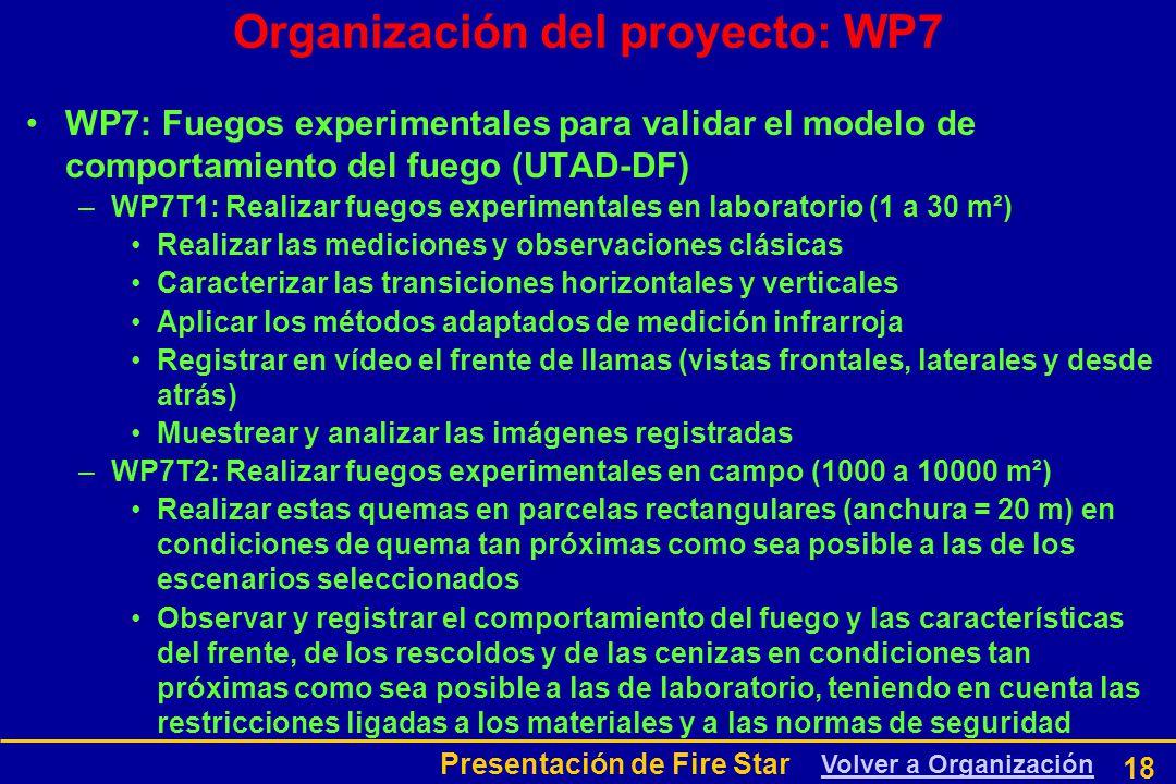 Presentación de Fire Star 18 Organización del proyecto: WP7 WP7: Fuegos experimentales para validar el modelo de comportamiento del fuego (UTAD-DF) –WP7T1: Realizar fuegos experimentales en laboratorio (1 a 30 m²) Realizar las mediciones y observaciones clásicas Caracterizar las transiciones horizontales y verticales Aplicar los métodos adaptados de medición infrarroja Registrar en vídeo el frente de llamas (vistas frontales, laterales y desde atrás) Muestrear y analizar las imágenes registradas –WP7T2: Realizar fuegos experimentales en campo (1000 a 10000 m²) Realizar estas quemas en parcelas rectangulares (anchura = 20 m) en condiciones de quema tan próximas como sea posible a las de los escenarios seleccionados Observar y registrar el comportamiento del fuego y las características del frente, de los rescoldos y de las cenizas en condiciones tan próximas como sea posible a las de laboratorio, teniendo en cuenta las restricciones ligadas a los materiales y a las normas de seguridad Volver a Organización