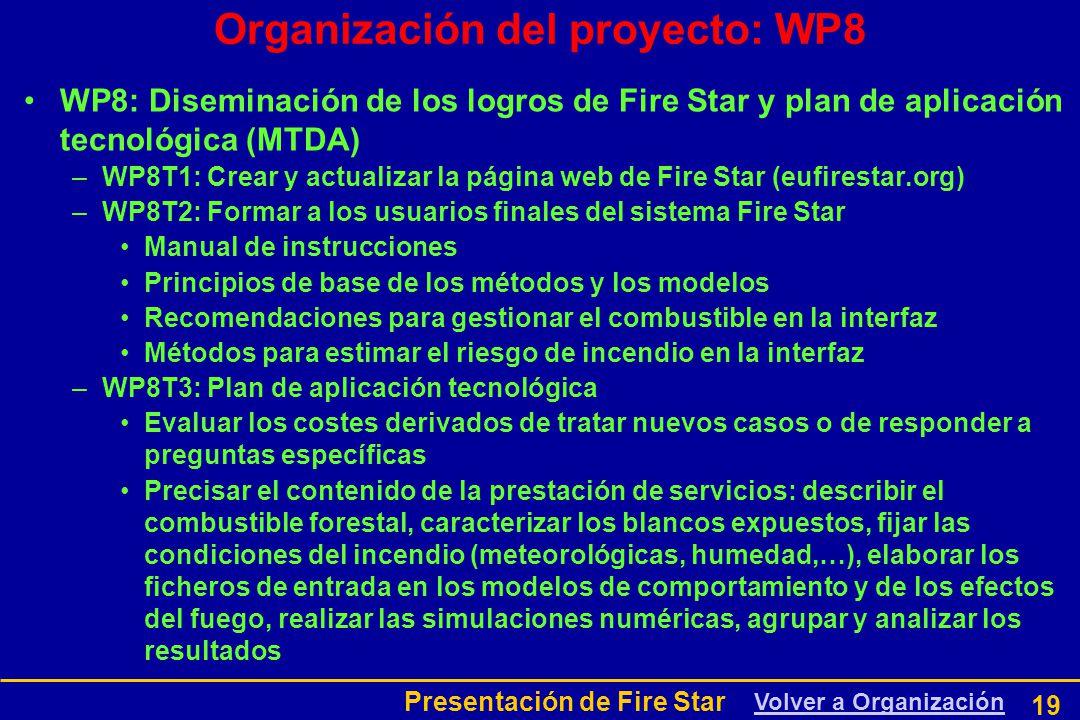 Presentación de Fire Star 19 WP8: Diseminación de los logros de Fire Star y plan de aplicación tecnológica (MTDA) –WP8T1: Crear y actualizar la página web de Fire Star (eufirestar.org) –WP8T2: Formar a los usuarios finales del sistema Fire Star Manual de instrucciones Principios de base de los métodos y los modelos Recomendaciones para gestionar el combustible en la interfaz Métodos para estimar el riesgo de incendio en la interfaz –WP8T3: Plan de aplicación tecnológica Evaluar los costes derivados de tratar nuevos casos o de responder a preguntas específicas Precisar el contenido de la prestación de servicios: describir el combustible forestal, caracterizar los blancos expuestos, fijar las condiciones del incendio (meteorológicas, humedad,…), elaborar los ficheros de entrada en los modelos de comportamiento y de los efectos del fuego, realizar las simulaciones numéricas, agrupar y analizar los resultados Organización del proyecto: WP8 Volver a Organización