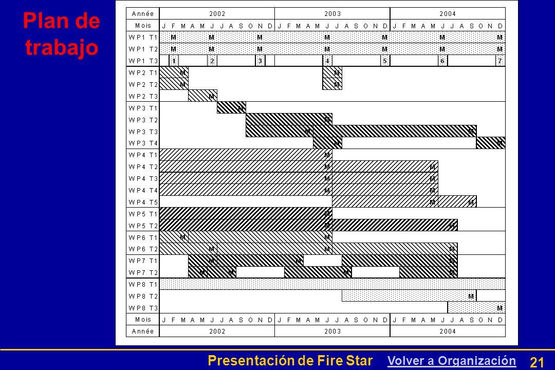 Presentación de Fire Star 21 Volver a Organización Plan de trabajo