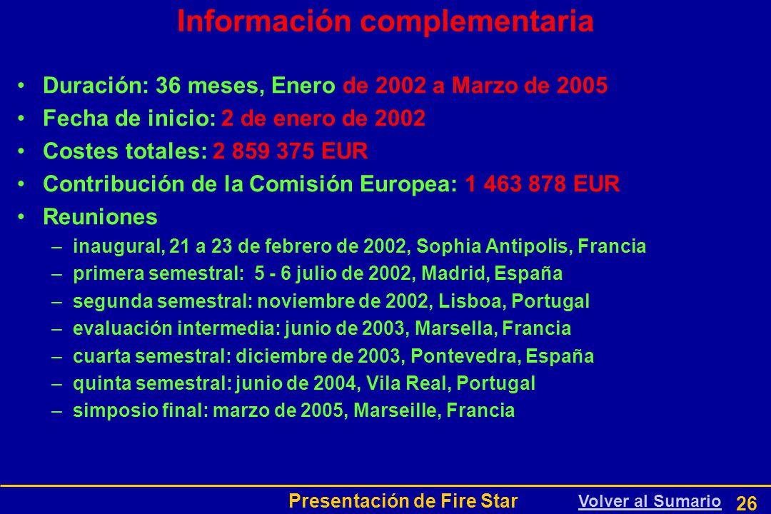 Presentación de Fire Star 26 Información complementaria Duración: 36 meses, Enero de 2002 a Marzo de 2005 Fecha de inicio: 2 de enero de 2002 Costes totales: 2 859 375 EUR Contribución de la Comisión Europea: 1 463 878 EUR Reuniones –inaugural, 21 a 23 de febrero de 2002, Sophia Antipolis, Francia –primera semestral: 5 - 6 julio de 2002, Madrid, España –segunda semestral: noviembre de 2002, Lisboa, Portugal –evaluación intermedia: junio de 2003, Marsella, Francia –cuarta semestral: diciembre de 2003, Pontevedra, España –quinta semestral: junio de 2004, Vila Real, Portugal –simposio final: marzo de 2005, Marseille, Francia Volver al Sumario