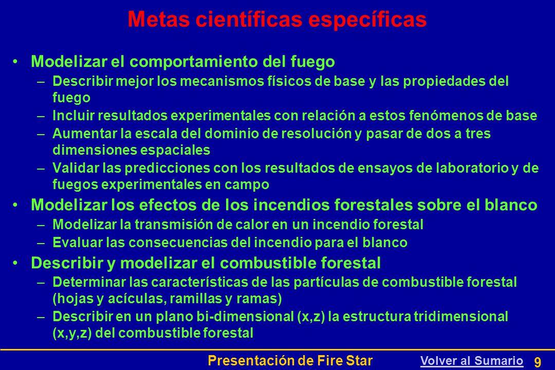 Presentación de Fire Star 9 Metas científicas específicas Modelizar el comportamiento del fuego –Describir mejor los mecanismos físicos de base y las propiedades del fuego –Incluir resultados experimentales con relación a estos fenómenos de base –Aumentar la escala del dominio de resolución y pasar de dos a tres dimensiones espaciales –Validar las predicciones con los resultados de ensayos de laboratorio y de fuegos experimentales en campo Modelizar los efectos de los incendios forestales sobre el blanco –Modelizar la transmisión de calor en un incendio forestal –Evaluar las consecuencias del incendio para el blanco Describir y modelizar el combustible forestal –Determinar las características de las partículas de combustible forestal (hojas y acículas, ramillas y ramas) –Describir en un plano bi-dimensional (x,z) la estructura tridimensional (x,y,z) del combustible forestal Volver al Sumario
