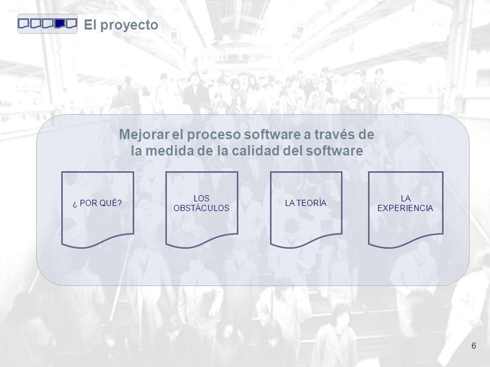 6 El proyecto LOS OBSTÁCULOS ¿ POR QUÉ LA TEORÍA LA EXPERIENCIA Mejorar el proceso software a través de la medida de la calidad del software