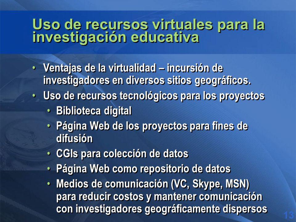 Uso de recursos virtuales para la investigación educativa Ventajas de la virtualidad – incursión de investigadores en diversos sitios geográficos.