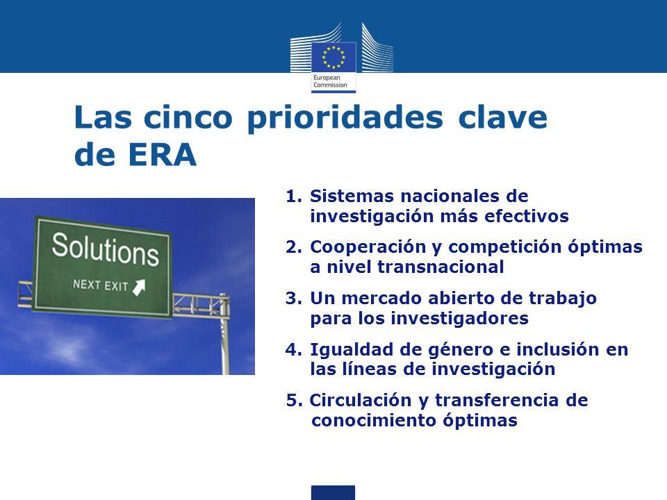Las cinco prioridades clave de ERA 1.Sistemas nacionales de investigación más efectivos 2.Cooperación y competición óptimas a nivel transnacional 3.Un mercado abierto de trabajo para los investigadores 4.Igualdad de género e inclusión en las líneas de investigación 5.
