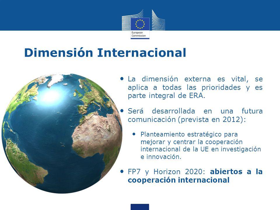 Dimensión Internacional La dimensión externa es vital, se aplica a todas las prioridades y es parte integral de ERA.