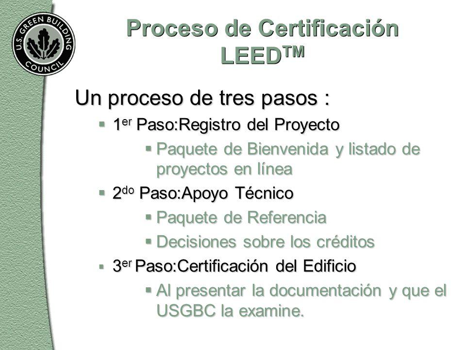 Proceso de Certificación LEED TM Un proceso de tres pasos :  1 er Paso:Registro del Proyecto  Paquete de Bienvenida y listado de proyectos en línea  2 do Paso:Apoyo Técnico  Paquete de Referencia  Decisiones sobre los créditos  3 er Paso:Certificación del Edificio  Al presentar la documentación y que el USGBC la examine.