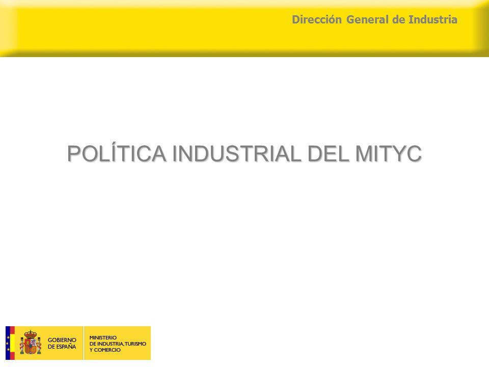 04/04/2015 Dirección General de Industria POLÍTICA INDUSTRIAL DEL MITYC