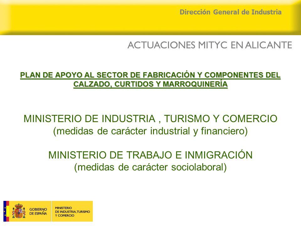 04/04/2015 Dirección General de Industria PLAN DE APOYO AL SECTOR DE FABRICACIÓN Y COMPONENTES DEL CALZADO, CURTIDOS Y MARROQUINERÍA PLAN DE APOYO AL SECTOR DE FABRICACIÓN Y COMPONENTES DEL CALZADO, CURTIDOS Y MARROQUINERÍA MINISTERIO DE INDUSTRIA, TURISMO Y COMERCIO (medidas de carácter industrial y financiero) MINISTERIO DE TRABAJO E INMIGRACIÓN (medidas de carácter sociolaboral) ACTUACIONES MITYC EN ALICANTE