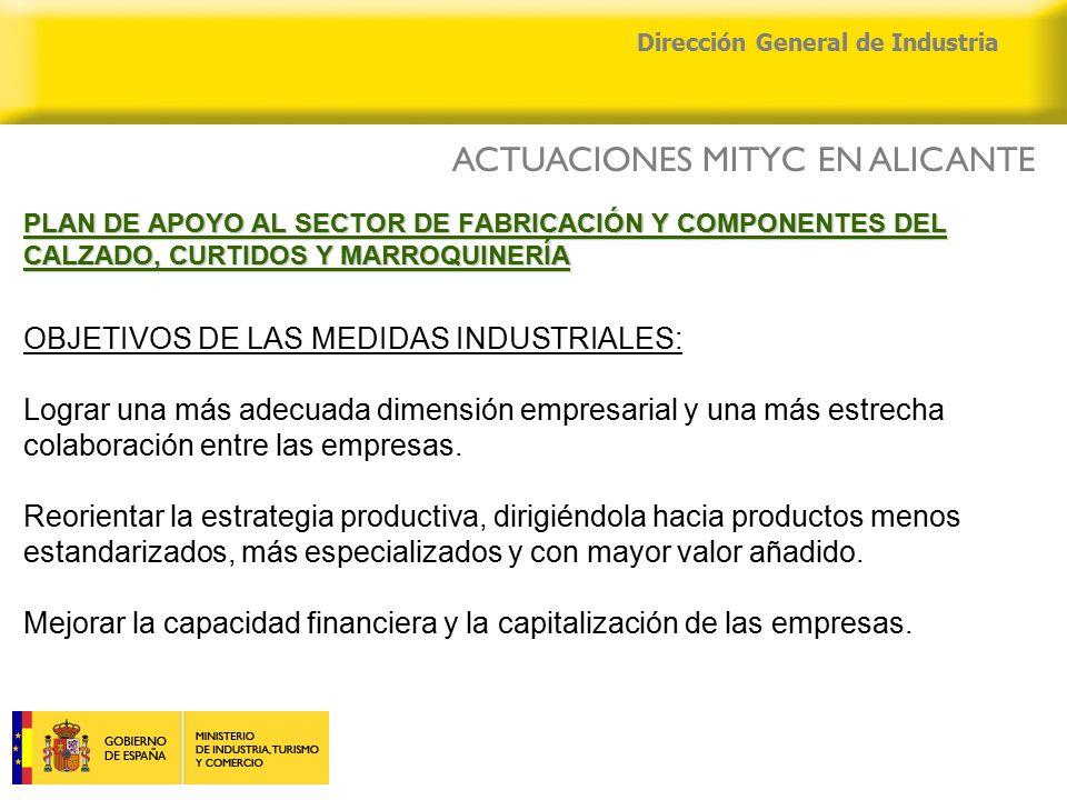 04/04/2015 Dirección General de Industria PLAN DE APOYO AL SECTOR DE FABRICACIÓN Y COMPONENTES DEL CALZADO, CURTIDOS Y MARROQUINERÍA PLAN DE APOYO AL SECTOR DE FABRICACIÓN Y COMPONENTES DEL CALZADO, CURTIDOS Y MARROQUINERÍA OBJETIVOS DE LAS MEDIDAS INDUSTRIALES: Lograr una más adecuada dimensión empresarial y una más estrecha colaboración entre las empresas.