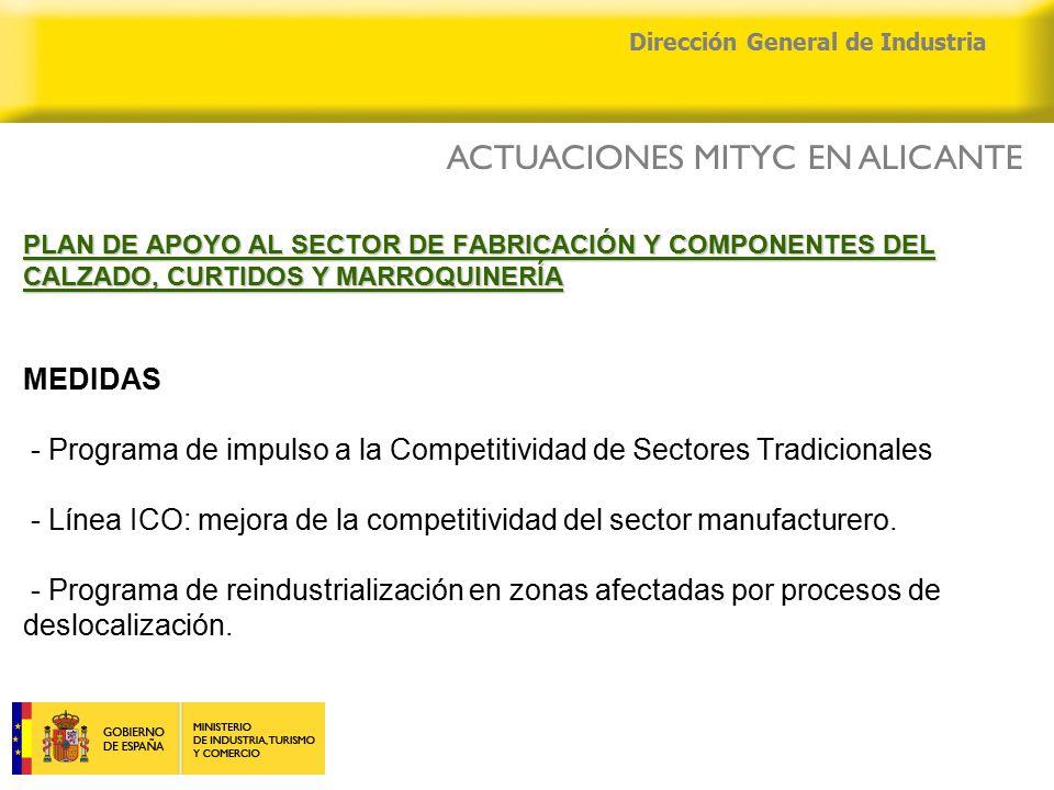 04/04/2015 Dirección General de Industria PLAN DE APOYO AL SECTOR DE FABRICACIÓN Y COMPONENTES DEL CALZADO, CURTIDOS Y MARROQUINERÍA PLAN DE APOYO AL SECTOR DE FABRICACIÓN Y COMPONENTES DEL CALZADO, CURTIDOS Y MARROQUINERÍA MEDIDAS - Programa de impulso a la Competitividad de Sectores Tradicionales - Línea ICO: mejora de la competitividad del sector manufacturero.