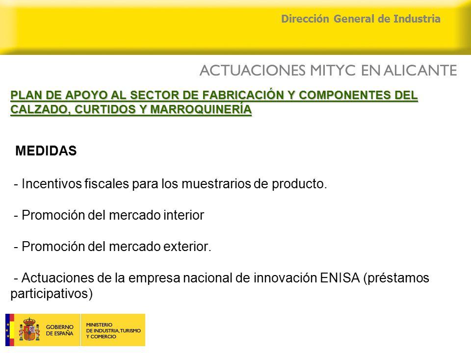 04/04/2015 Dirección General de Industria PLAN DE APOYO AL SECTOR DE FABRICACIÓN Y COMPONENTES DEL CALZADO, CURTIDOS Y MARROQUINERÍA PLAN DE APOYO AL SECTOR DE FABRICACIÓN Y COMPONENTES DEL CALZADO, CURTIDOS Y MARROQUINERÍA MEDIDAS - Incentivos fiscales para los muestrarios de producto.