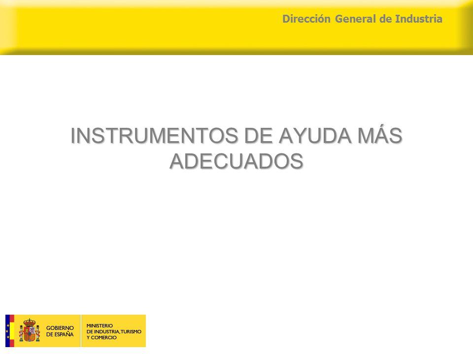 04/04/2015 Dirección General de Industria INSTRUMENTOS DE AYUDA MÁS ADECUADOS