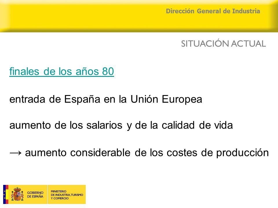04/04/2015 Dirección General de Industria finales de los años 80 entrada de España en la Unión Europea aumento de los salarios y de la calidad de vida → aumento considerable de los costes de producción SITUACIÓN ACTUAL