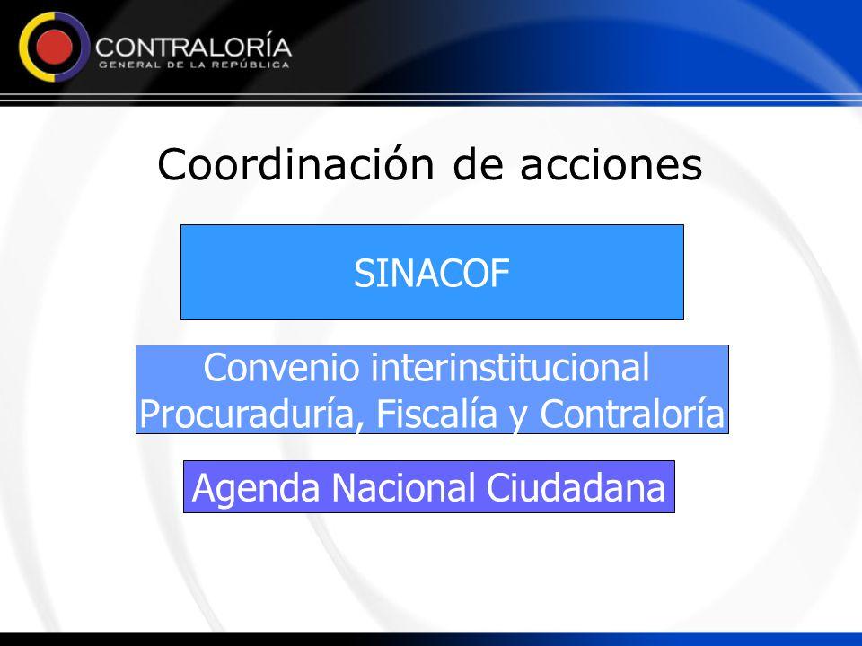 Coordinación de acciones SINACOF Convenio interinstitucional Procuraduría, Fiscalía y Contraloría Agenda Nacional Ciudadana